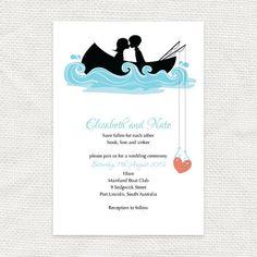 hooked on you invitation - printable file - fishing row boat DIY wedding invitation, bridal or couples shower via Etsy