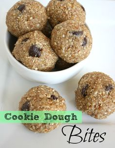 Healthy Cookie Dough Bites.  Good reviews.   Store in freezer.