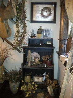 Pine Cabinet, Fall Country Home Decor
