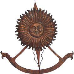 Old Italian Vertical Sundial Gilt Hanging w Sun Face & 21 Inch Scroll DIYWeekendRubyLane