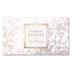 Whimsical White Glitter Bokeh Elegant Gold Frame Business Card Templates
