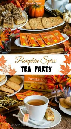 Pumpkin Spice Tea, Autumn Tea, Youre Invited, Tarts, Fall Recipes, Sandwiches, Night, Biscuits, Tea Time