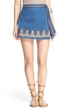 Free People 'Dream Away' Embroidered Wrap Front Denim Miniskirt