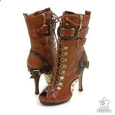 SEXY Steampunk. But seriously, I would wear these day or night, dress or casual because these boots ARE HOT!!!! Puuurrrr!
