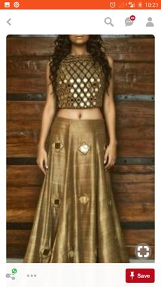 lehenga blouse design in golden color and mirror work Indian Attire, Indian Ethnic Wear, Indian Bridal Wear, Indian Designer Outfits, Designer Dresses, Indian Designers, Indian Dresses, Indian Outfits, Western Dresses