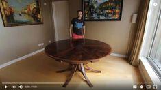 Walnut Curl Expanding Circular Dining Table — Johnson Furniture Expanding Round Table, Circular Dining Table, Cabinet Making, Bespoke Furniture, Man Cave, Interior Design, Room, Interiors, Home Decor