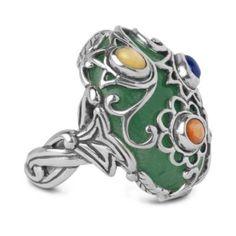 Amazon.com: Carolyn Pollack Sterling Silver Multi-Gemstone Garden Glory Ring: Jewelry