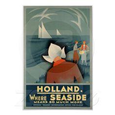 Vintage 1930 Holland seaside travel Poster