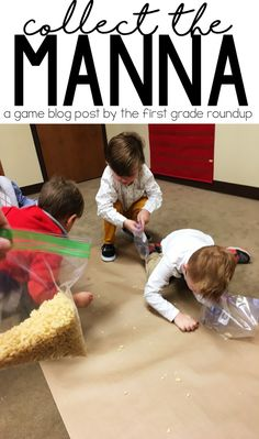 """Collect the Manna Game - Read about how we played """"Collect the Manna"""" in Sunday School as a way to learn about God's miraculous power with preschoolers! Toddler Sunday School, Kids Sunday School Lessons, Sunday School Activities, Sunday School Crafts, Kids Class, School Ideas, School Projects, Sunday School Rooms, Sunday School Classroom"""