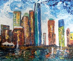 Hey, I found this really awesome Etsy listing at https://www.etsy.com/listing/229181170/new-york-cityscape-impasto-acrylic