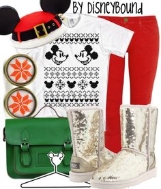 Mickey Christmas Disneybound Sparkly uggs are only allowed on Christmas Tacky Christmas Sweater, Mickey Christmas, Christmas Clothes, Merry Christmas, Cute Disney, Disney Style, Walt Disney, Disney Inspired Fashion, Disney Fashion