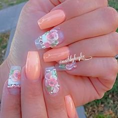 Peach and flower nails