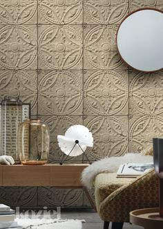 This is WALLPAPER! Antique Tin Tiles collection by KOZIEL