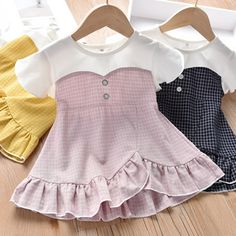 Wholesale Children's Skirt Summer Girl's Dresses Children's Chequered Flying Sleeve Skirt from Our website with high quality and fast shipping worldwide. Girls Fashion Clothes, Kids Fashion, Girl Outfits, Little Girl Dresses, Girls Dresses, Cute Newborn Baby Girl, Dress Anak, Baby Dress Design, Skirts For Kids