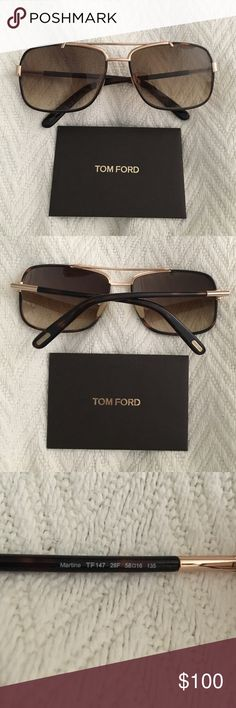 Tom Ford Martine Aviator Sunglasses Tortoise /Gold Selling a like new pair of Tom Ford Martine Sunglasses in a brown / tortoise color with gold accents! These sunglasses do not have any scratches whatsoever and are in true like new condition. Worn maybe twice. Comes with original sunglasses case, cleaning cloth, certificate of authenticity, and box. Guaranteed authentic! Style number and color code: TF147 28F. Thanks for looking!!! :) Tom Ford Accessories Sunglasses
