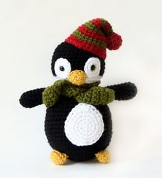 One of our menagerie of amigurumi animals, this cheery holiday bird with a Christmas-striped hat is sure to be a favorite. (Lion Brand Yarn)
