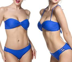 Special Offer: $19.99 amazon.com Ekouaer Sexy Twist Bandeau Padded Bikini Top & Low Rise Triangle Bottom Swimsuit Plus Size Two Pieces Bathing Suits for Women Girls Juniors(FBA) Sexy & Hot Design: Twist Bandeau Strapless Bikini Set, Tie Back, Molded Padding Cups —- sexy and...