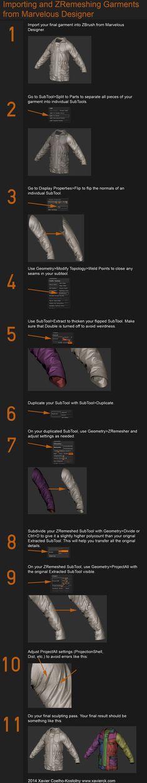 ArtStation - Marvelous Designer to Zbrush Tutorial, Xavier Coelho-Kostolny  Higher resolution here:  http://i.imgur.com/VTjfae7.jpg