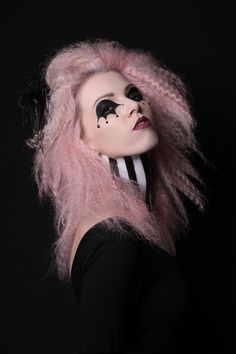 Circus inspired makeup. Make up and photography by the talented White Rabbit/Gemma Williams. Stephy H modelling. Striped neck, black and white, pink crimped hair. Candyfloss pink hair