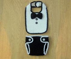 Cute Little Man Crochet BIB, BOW TIE  Picture only