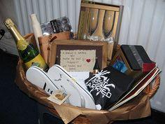 Destination Wedding Gift Ideas For Bride And Groom : Wedding Gift Baskets on Pinterest Honeymoon Gift Baskets, Baby Gift ...