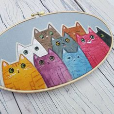 Your place to buy and sell all things handmade Cat Lover Gifts, Cat Gifts, Cat Lovers, Lots Of Cats, Cat Wall, Art Original, Art Mural, Grey Fabric, Les Oeuvres