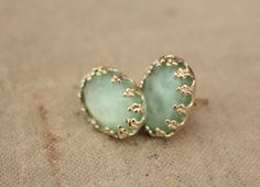 Mint gold plated  post earrings by iloniti on Etsy, $23.00