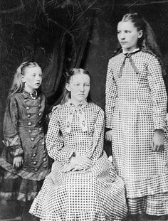From left to right:  Carrie, Mary, and Laura Ingalls around 1882.  Mary had lost her sight three years earlier.