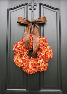 Spray-painted dried hydrangeas makes a huge statement as front door fall wreath. #provenwinners