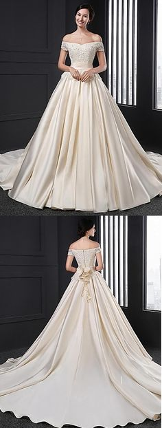 """Loving the neckline detail from this wedding dress with a chapel train ♥ Like it? Click for extra info. Remember to use coupon code """"PTL40901"""" for an extra discount when you spend $200+"""