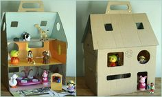 Cardboard house, could make a barn. Projects For Kids, Diy For Kids, Crafts For Kids, Craft Projects, Cardboard Dollhouse, Diy Cardboard, Diy And Crafts Sewing, Diy Crafts, Carton Diy