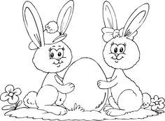 boy and girl bunnies coloring page