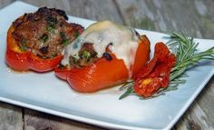 30 Minutes or Less Wednesdays: Italian Sausage, Spinach, Sun-dried Tomato, and Caramelized Onion Stuffed Bell Peppers