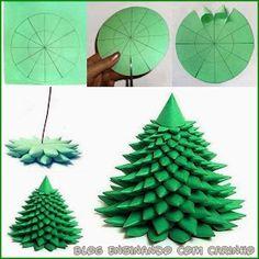 Mini Árvore de Natal, com passo a passo     Veja detalhes do passo a passo:   Meninas,  o passo a passo está justamente na imagem, faz um ...
