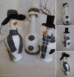 Easy, inexpensive ideas for making DIY Christmas gifts for friends and family in a creative way.How to Make DIY Christmas presents at home Snowman Crafts, Christmas Projects, Holiday Crafts, Easy Diy Christmas Gifts, Christmas Fun, Christmas Decorations, Wine Craft, Wine Bottle Crafts, Diy Bottle