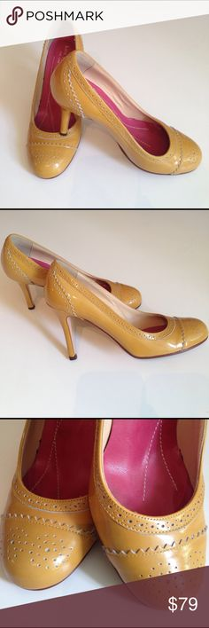 """KATE SPADE MUSTARD YELLOW $328 PUMPS Beautiful Kate Spade pumps in mustard yellow.. Perfect for Spring with wonderful workmanship that this brand is known for. 3.5"""" heel. Perfect. No scuffs or dings. In Excellent condition. kate spade Shoes"""