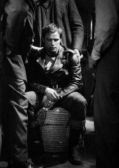 Marlon Brando on the set of The Wild One, 1953