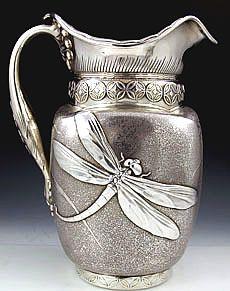Art Nouveau sterling antique pitcher by whiting Art Nouveau, Silver Spoons, Silver Plate, Silver Ring, Vintage Silver, Antique Silver, Bronze, Or Antique, Metal Art