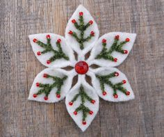 Snowflake+Felt+Pin+Evergreen+And+Red+Berries+by+WanderingLydia