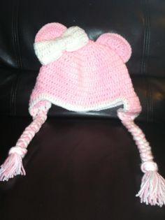 pink bear crochet hat