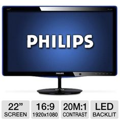 "Experience brilliant LED pictures on this Philips 227E3QPHSU 22"" Class   Widescreen IPS LED Monitor. With elegant design, translucent blue bezel, HDMI and Innovative PowerSensor that detects your presence saving upto 80% of your energy bill, the Philips 22"" LED Monitor is a smart green choice. Back all of these claims up with Full HD 1080p along with SmartContrast of 20,000,000:1 and you know the Philips 22"" Class Widescreen IPS LED Monitor is a remarkable option for desktop computing."