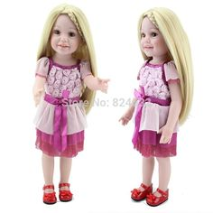51.91$  Buy here - http://alic3h.worldwells.pw/go.php?t=32318303687 - Vinyl American 18 inch Girl Doll Collection baby alive boneca Toys Handmade New Style Baby Gift In Stock 51.91$