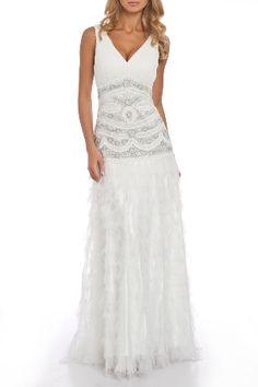 Sue Wong Battenberg Crochet Multi-Tiered Hankie Ball Gown in White