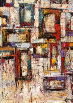 "MICHAEL NISPEROS    ""Windowpanes""    Original Painting On Canvas 72"" x 48"""