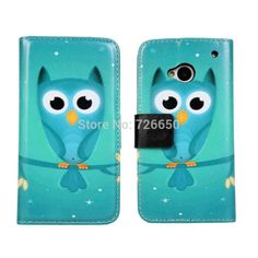 Owl Wallet Leather Case Cover For HTC One M7 with Stand TV Function & Card Slots + Free Screen Protector