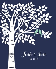 Navy and Mint Wedding Guestbook Alternative Guestbook Tree Personalized Wedding Decor - 16x20 - 100 Signature Keepsake Guestbook Poster