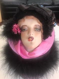 ANTIQUE SMOKING BOUDOIR DOLL KEEPSAKE BOX. repainted