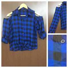 Hurry before stock runs out: Checked Cold - Sh..., visit http://ftfy.bargains/products/checked-cold-shoulder-royal-blue-and-black-boxed-checks-shirt-with-front-knot?utm_campaign=social_autopilot&utm_source=pin&utm_medium=pin  #amazing #affordable #fashion #stylish