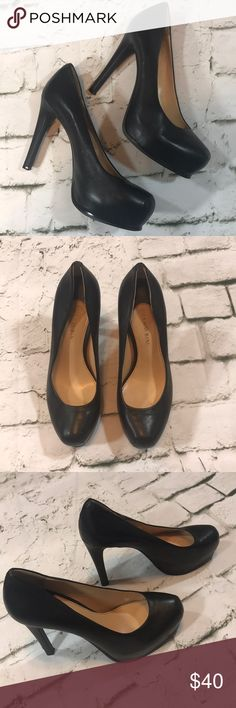 """Gianni Bini Platform Stilettos Black leather Gianni Bini platform stilettos in GUC. Please see photos for any defects. These shoes are network smooth leather and have a lot of life left in them. Heel is 4"""" and platform is 1"""". Gianni Bini Shoes Heels"""