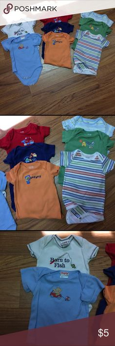 Lot boys onsies 8 boy onsies.  Most are Child of Mine brand, one Alexis, Snugabye and one Just One Year. Most are in great condition. The second picture onsies are sized 6-9 months and the third picture is sized 9 months. Smoke free home. mix as listed One Pieces